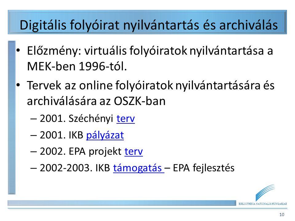 BIBLIOTHECA NATIONALIS HUNGARIAE 10 Digitális folyóirat nyilvántartás és archiválás Előzmény: virtuális folyóiratok nyilvántartása a MEK-ben 1996-tól.