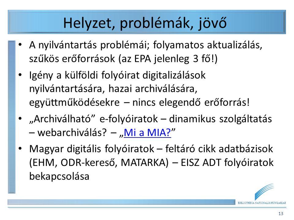 BIBLIOTHECA NATIONALIS HUNGARIAE 13 Helyzet, problémák, jövő A nyilvántartás problémái; folyamatos aktualizálás, szűkös erőforrások (az EPA jelenleg 3