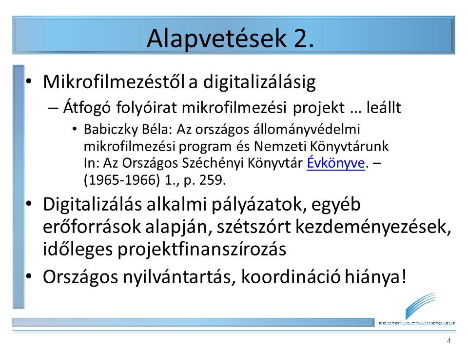 BIBLIOTHECA NATIONALIS HUNGARIAE 4 Alapvetések 2. Mikrofilmezéstől a digitalizálásig – Átfogó folyóirat mikrofilmezési projekt … leállt Babiczky Béla: