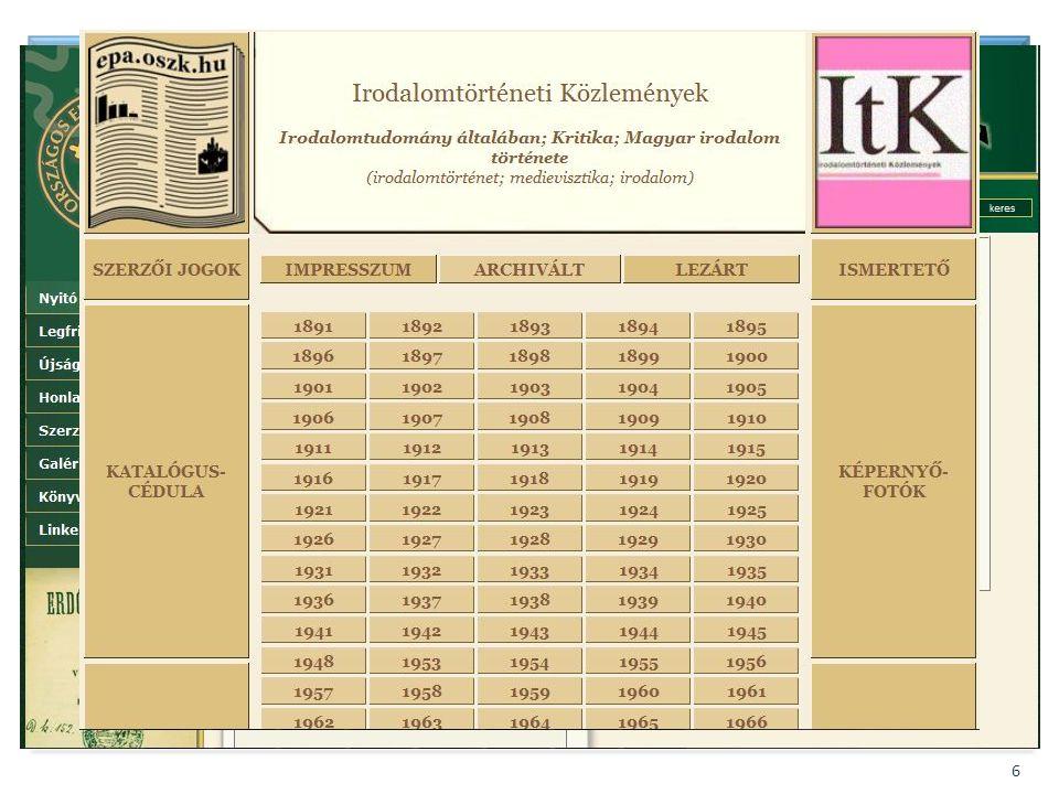 BIBLIOTHECA NATIONALIS HUNGARIAE 6 Folyóirat digitalizálási projektek 2. Szakmai, civil kezdeményezések, pl. – Nemzetközi Magyarságtudományi Társaság;