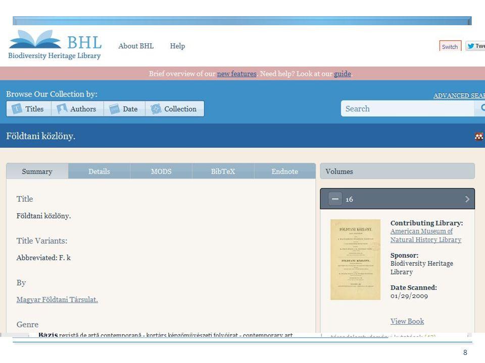 BIBLIOTHECA NATIONALIS HUNGARIAE 9 Digitális folyóirat nyilvántartás 1.