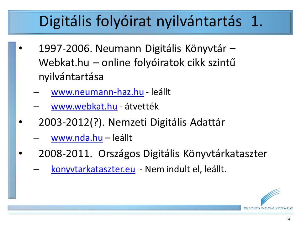 BIBLIOTHECA NATIONALIS HUNGARIAE 9 Digitális folyóirat nyilvántartás 1. 1997-2006. Neumann Digitális Könyvtár – Webkat.hu – online folyóiratok cikk sz