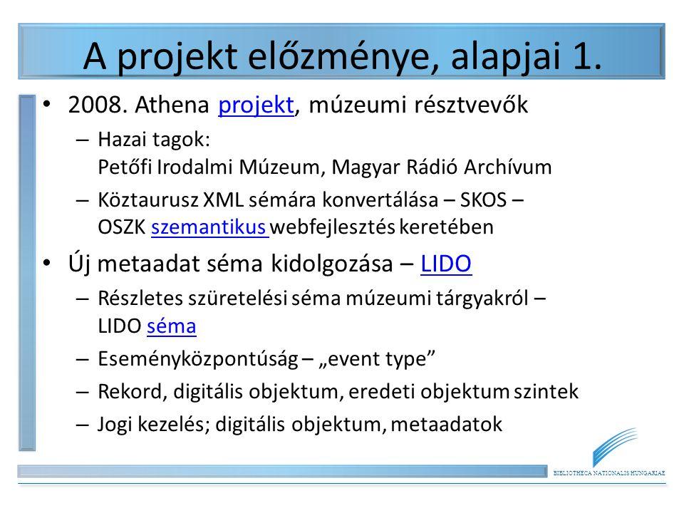 BIBLIOTHECA NATIONALIS HUNGARIAE A projekt előzménye, alapjai 1. 2008. Athena projekt, múzeumi résztvevőkprojekt – Hazai tagok: Petőfi Irodalmi Múzeum