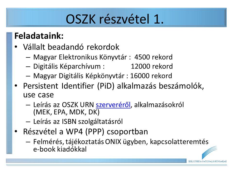 BIBLIOTHECA NATIONALIS HUNGARIAE OSZK részvétel 1. Feladataink: Vállalt beadandó rekordok – Magyar Elektronikus Könyvtár : 4500 rekord – Digitális Kép