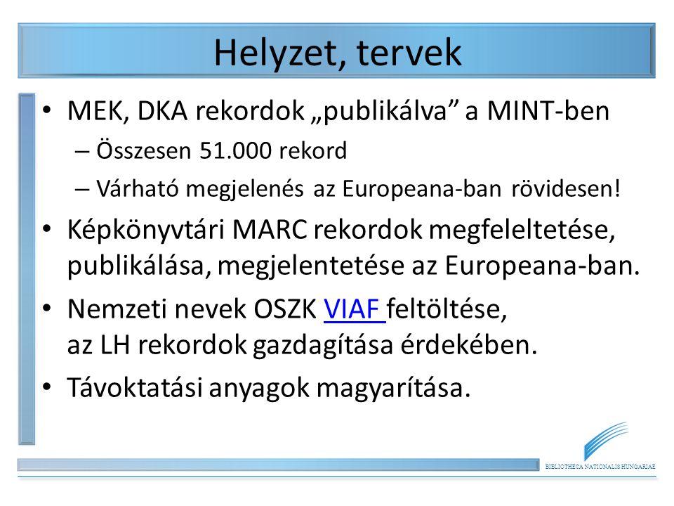 """BIBLIOTHECA NATIONALIS HUNGARIAE Helyzet, tervek MEK, DKA rekordok """"publikálva a MINT-ben – Összesen 51.000 rekord – Várható megjelenés az Europeana-ban rövidesen."""