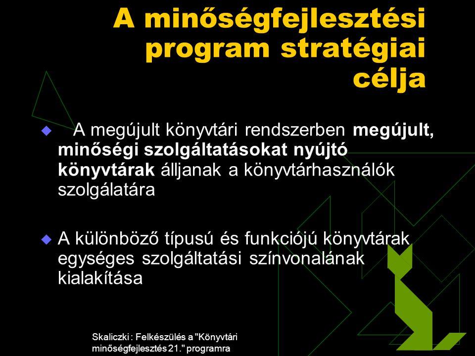 Skaliczki : Felkészülés a Könyvtári minőségfejlesztés 21. programra A minőségfejlesztési program stratégiai célja  A megújult könyvtári rendszerben megújult, minőségi szolgáltatásokat nyújtó könyvtárak álljanak a könyvtárhasználók szolgálatára  A különböző típusú és funkciójú könyvtárak egységes szolgáltatási színvonalának kialakítása