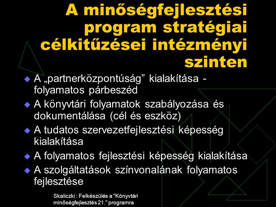"""Skaliczki : Felkészülés a Könyvtári minőségfejlesztés 21. programra A minőségfejlesztési program stratégiai célkitűzései intézményi szinten  A """"partnerközpontúság kialakítása - folyamatos párbeszéd  A könyvtári folyamatok szabályozása és dokumentálása (cél és eszköz)  A tudatos szervezetfejlesztési képesség kialakítása  A folyamatos fejlesztési képesség kialakítása  A szolgáltatások színvonalának folyamatos fejlesztése"""