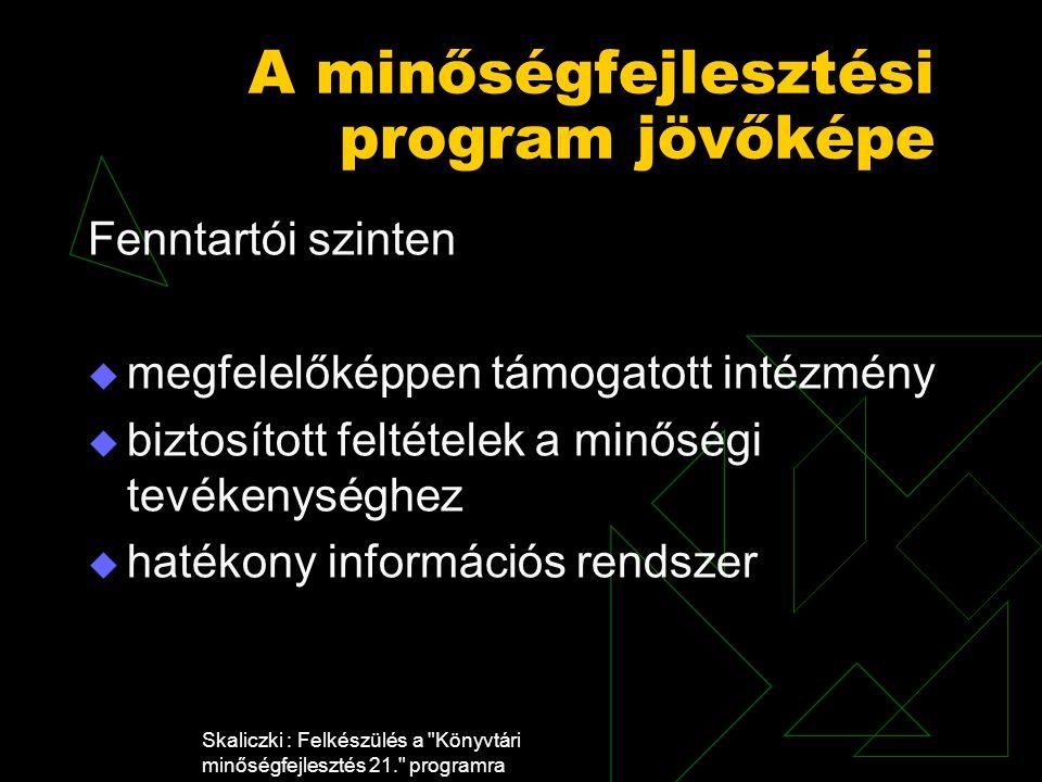 Skaliczki : Felkészülés a Könyvtári minőségfejlesztés 21. programra A minőségfejlesztési program jövőképe Fenntartói szinten  megfelelőképpen támogatott intézmény  biztosított feltételek a minőségi tevékenységhez  hatékony információs rendszer
