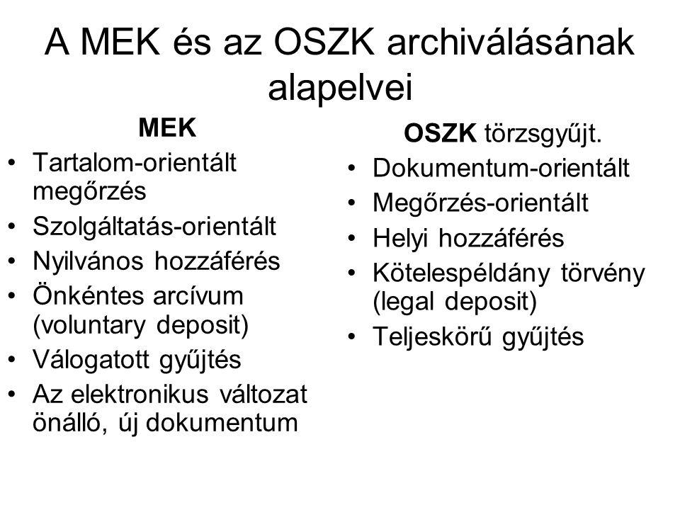 A MEK és az OSZK archiválásának alapelvei MEK Tartalom-orientált megőrzés Szolgáltatás-orientált Nyilvános hozzáférés Önkéntes arcívum (voluntary deposit) Válogatott gyűjtés Az elektronikus változat önálló, új dokumentum OSZK törzsgyűjt.