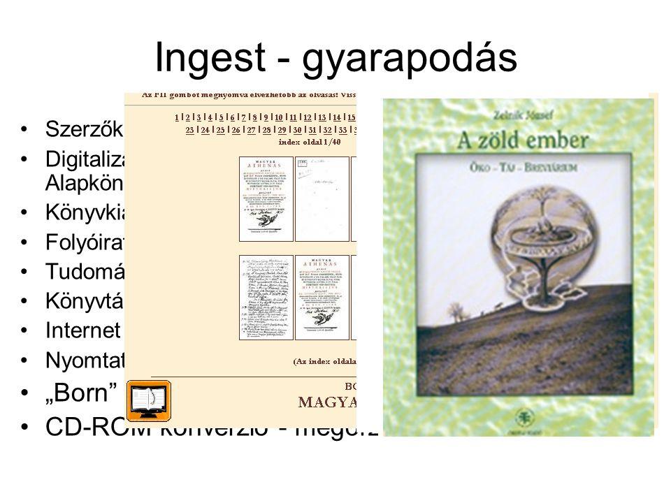 Ingest - gyarapodás Szerzők (pl. Ungvári Tamás) Digitalizálás (pl.