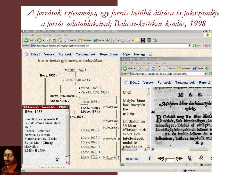 A források sztemmája, egy forrás betűhű átírása és fakszimiléje a forrás adatablakával; Balassi-kritikai kiadás, 1998