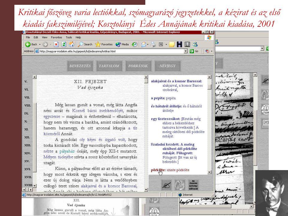Kritikai főszöveg varia lectiókkal, szómagyarázó jegyzetekkel, a kézirat és az első kiadás fakszimiléjével; Kosztolányi Édes Annájának kritikai kiadása, 2001