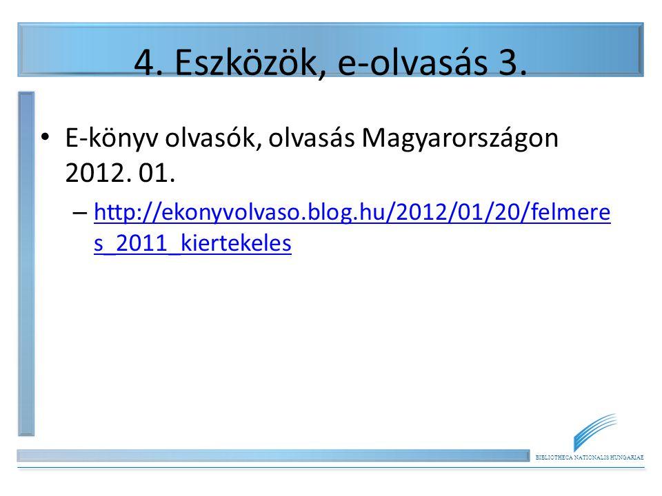 BIBLIOTHECA NATIONALIS HUNGARIAE 4. Eszközök, e-olvasás 3. E-könyv olvasók, olvasás Magyarországon 2012. 01. – http://ekonyvolvaso.blog.hu/2012/01/20/
