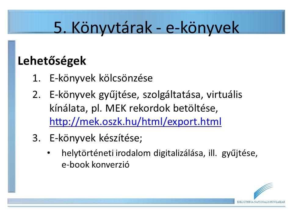 BIBLIOTHECA NATIONALIS HUNGARIAE 5. Könyvtárak - e-könyvek Lehetőségek 1.E-könyvek kölcsönzése 2.E-könyvek gyűjtése, szolgáltatása, virtuális kínálata