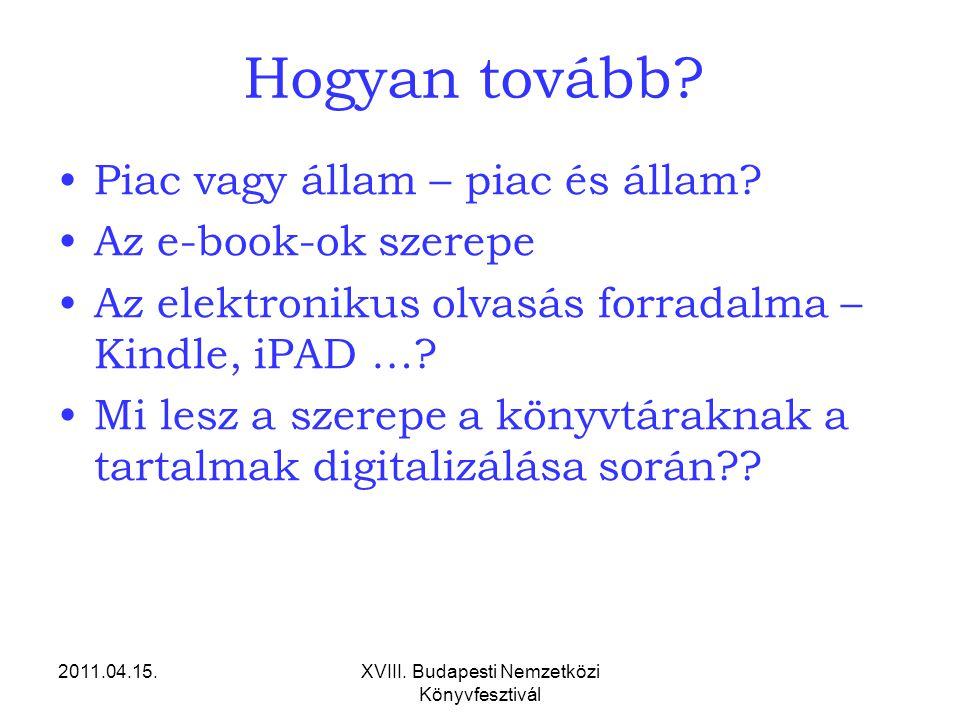 2011.04.15.XVIII. Budapesti Nemzetközi Könyvfesztivál Hogyan tovább? Piac vagy állam – piac és állam? Az e-book-ok szerepe Az elektronikus olvasás for