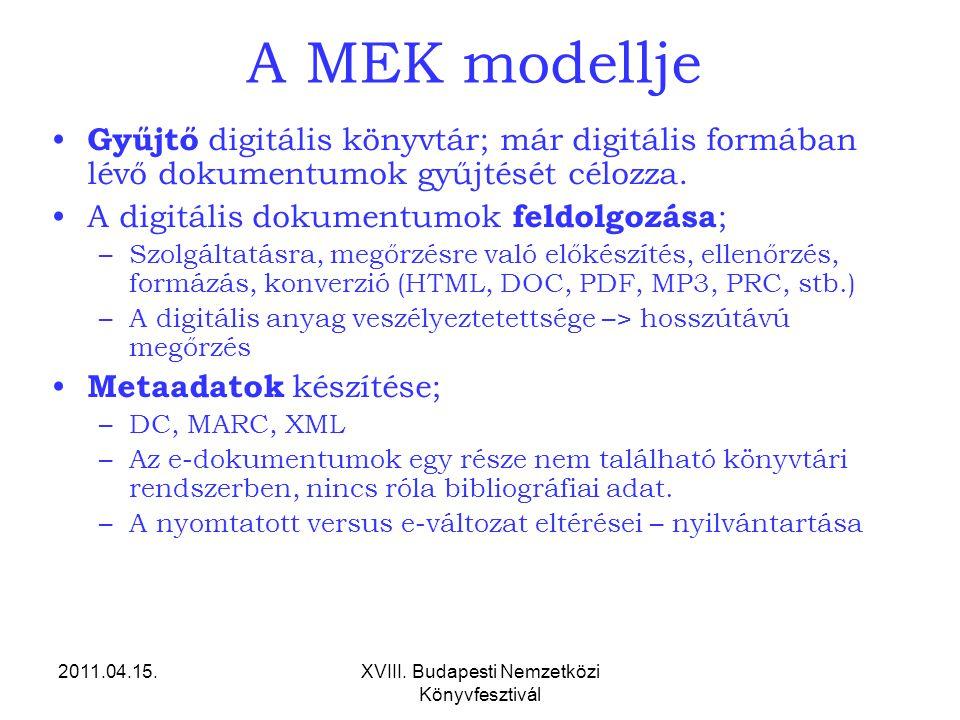 2011.04.15.XVIII. Budapesti Nemzetközi Könyvfesztivál A MEK modellje Gyűjtő digitális könyvtár; már digitális formában lévő dokumentumok gyűjtését cél