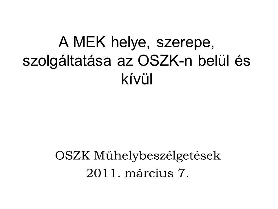 A MEK helye, szerepe, szolgáltatása az OSZK-n belül és kívül OSZK Műhelybeszélgetések 2011.