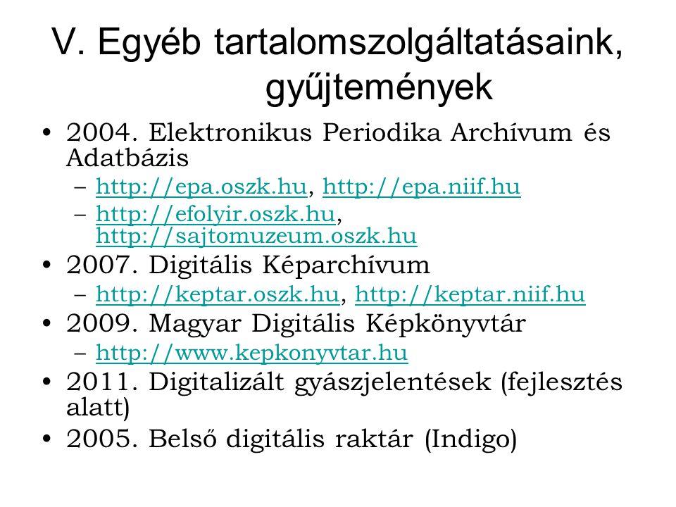 V. Egyéb tartalomszolgáltatásaink, gyűjtemények 2004.