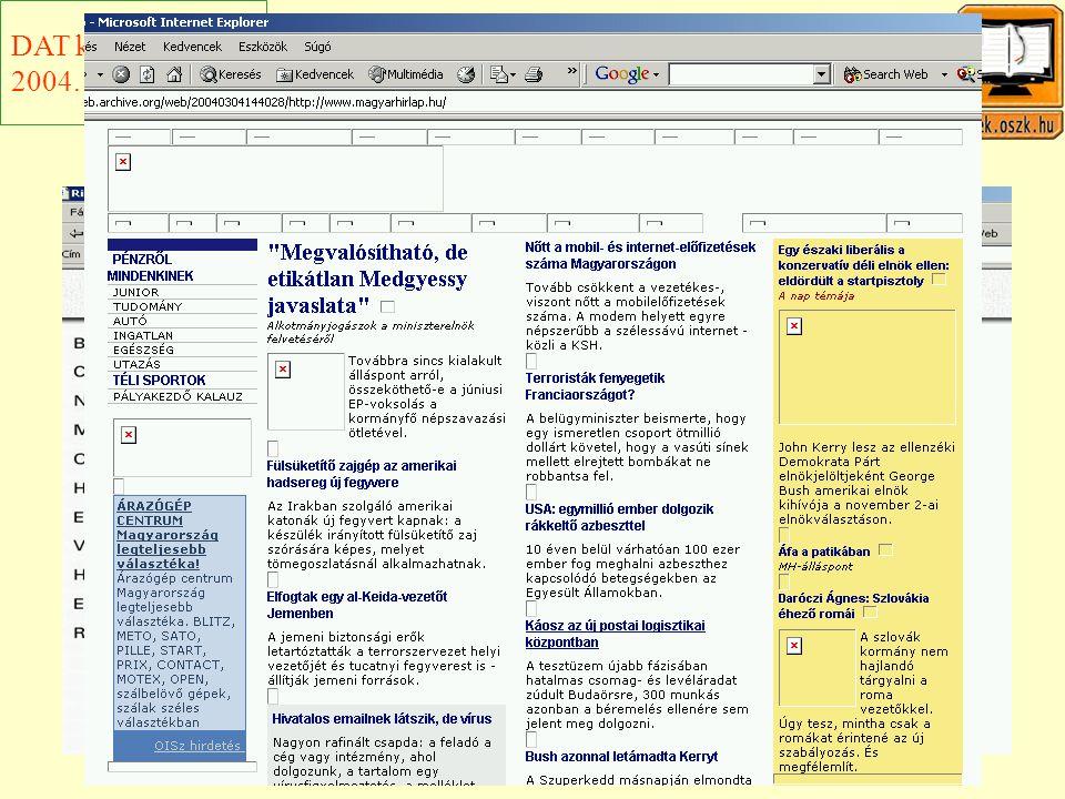 Egy friss példa Magyar Hírlap online DAT konferencia 2004. november 9.