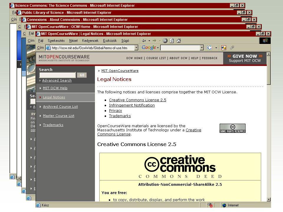 A Yahoo és a Google keresőjébe beépült CC F http://search.yahoo.com/cc F http://www.google.com/advanced_search?hl=en F http://search.creativecommons.org