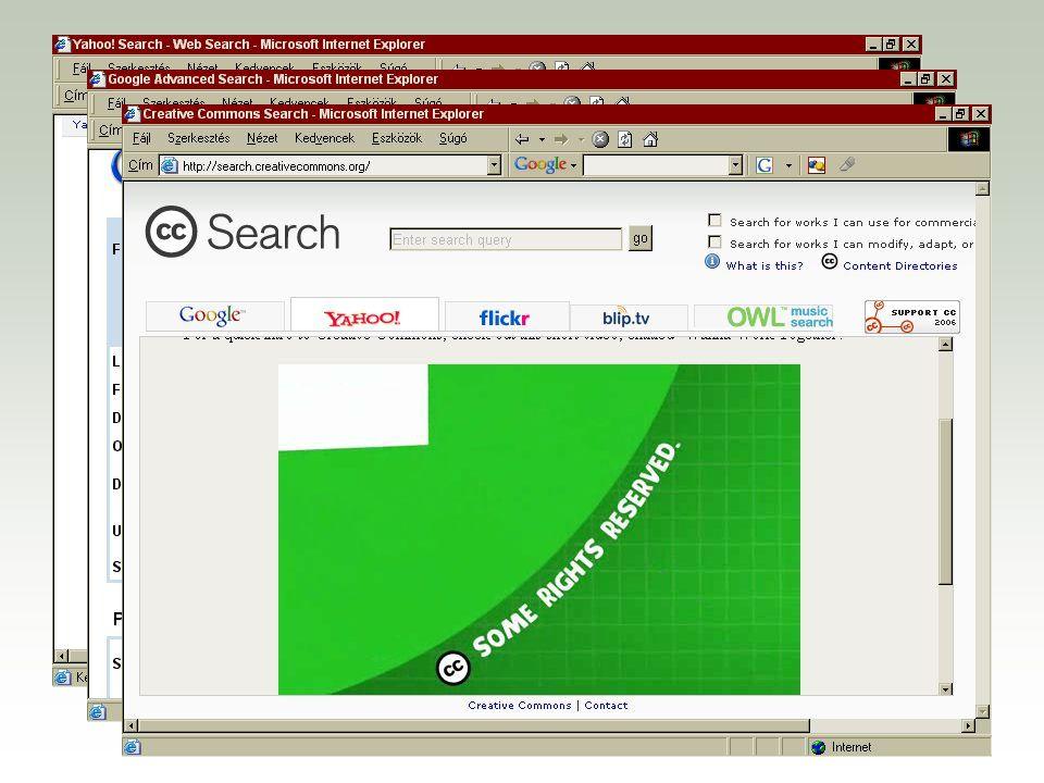 A magyar CC honlap, a magyar licencek és a Startlap linkgyűjteménye F http://www.creativecommons.hu F http://creativecommons.org/license?lang=hu F http://creativecommons.lap.hu