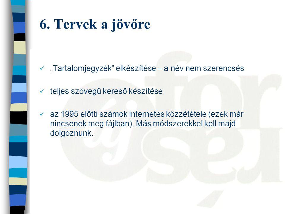 """6. Tervek a jövőre """"Tartalomjegyzék"""" elkészítése – a név nem szerencsés teljes szövegű kereső készítése az 1995 előtti számok internetes közzététele ("""