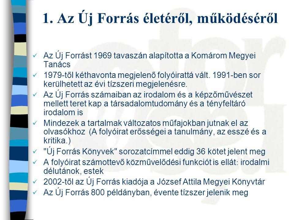 1. Az Új Forrás életéről, működéséről Az Új Forrást 1969 tavaszán alapította a Komárom Megyei Tanács 1979-től kéthavonta megjelenő folyóirattá vált. 1