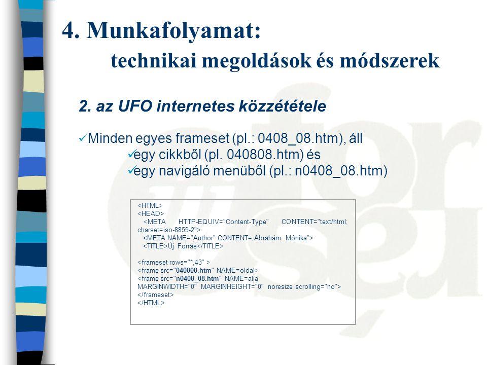 2. az UFO internetes közzététele Minden egyes frameset (pl.: 0408_08.htm), áll egy cikkből (pl.