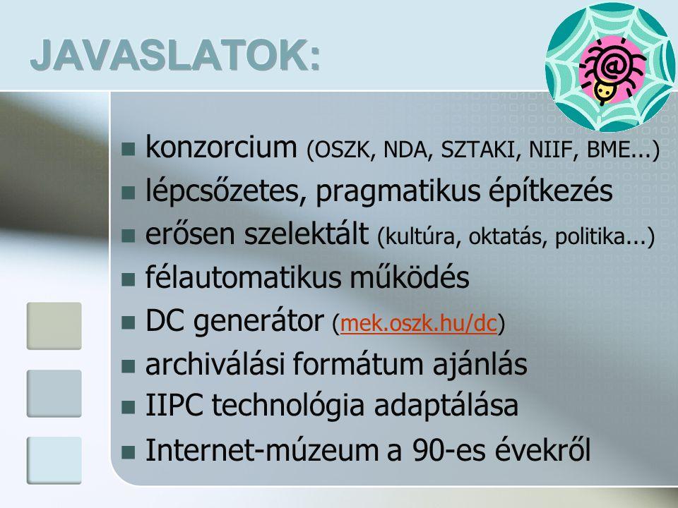 konzorcium (OSZK, NDA, SZTAKI, NIIF, BME...) lépcsőzetes, pragmatikus építkezés erősen szelektált (kultúra, oktatás, politika...) félautomatikus működés DC generátor (mek.oszk.hu/dc)mek.oszk.hu/dc archiválási formátum ajánlás IIPC technológia adaptálása Internet-múzeum a 90-es évekről