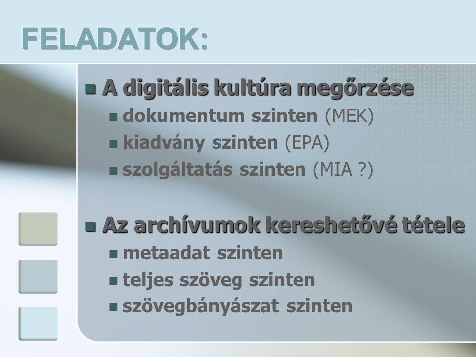 A digitális kultúra megőrzése A digitális kultúra megőrzése dokumentum szinten (MEK) kiadvány szinten (EPA) szolgáltatás szinten (MIA ) Az archívumok kereshetővé tétele Az archívumok kereshetővé tétele metaadat szinten teljes szöveg szinten szövegbányászat szinten