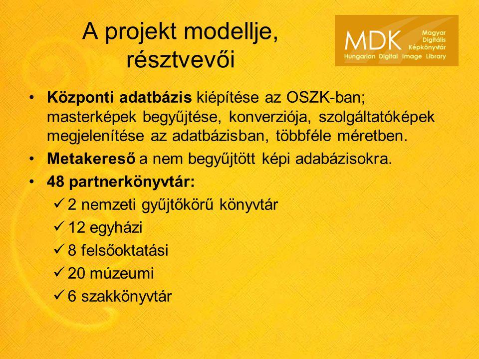 A projekt modellje, résztvevői Központi adatbázis kiépítése az OSZK-ban; masterképek begyűjtése, konverziója, szolgáltatóképek megjelenítése az adatbázisban, többféle méretben.