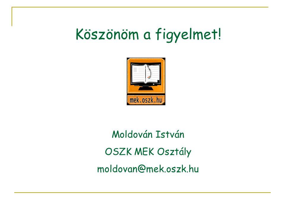 Köszönöm a figyelmet! Moldován István OSZK MEK Osztály moldovan@mek.oszk.hu