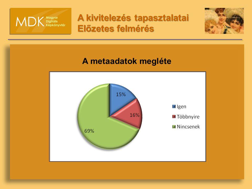 A metaadatok megléte A kivitelezés tapasztalatai Előzetes felmérés