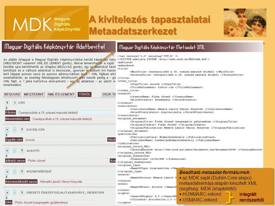 Beadható metaadat-formátumok:  az MDK saját (Dublin Core alapú) metaadatsémája alapán készített XML (segítség: MDK űrlapkitöltő) integrált  HUNMARC-rekord integrált rendszerből  USMARC-rekord rendszerből Beadható metaadat-formátumok:  az MDK saját (Dublin Core alapú) metaadatsémája alapán készített XML (segítség: MDK űrlapkitöltő) integrált  HUNMARC-rekord integrált rendszerből  USMARC-rekord rendszerből A kivitelezés tapasztalatai Metaadatszerkezet
