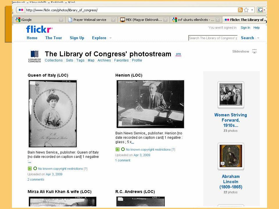 Meta képkereső Különböző képi adatbázisok, gyűjtemények lekérdezése Különböző technológiák segítségével (OAI-PMH, Google Custom Search, indexelés) Közösségi fájlmegosztón (Flickr-en) lévő könyvtári képállományok lekérdezése,