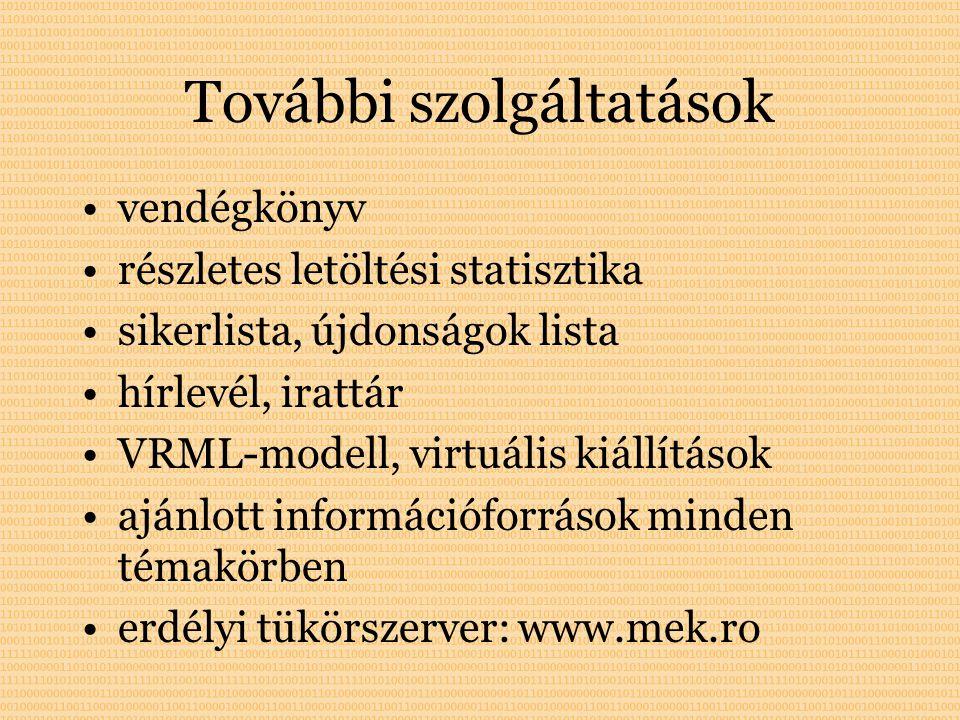 További szolgáltatások vendégkönyv részletes letöltési statisztika sikerlista, újdonságok lista hírlevél, irattár VRML-modell, virtuális kiállítások ajánlott információforrások minden témakörben erdélyi tükörszerver: www.mek.ro