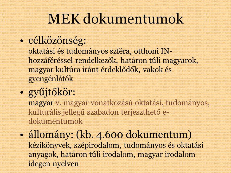 MEK dokumentumok célközönség: oktatási és tudományos szféra, otthoni IN- hozzáféréssel rendelkezők, határon túli magyarok, magyar kultúra iránt érdeklődők, vakok és gyengénlátók gyűjtőkör: magyar v.