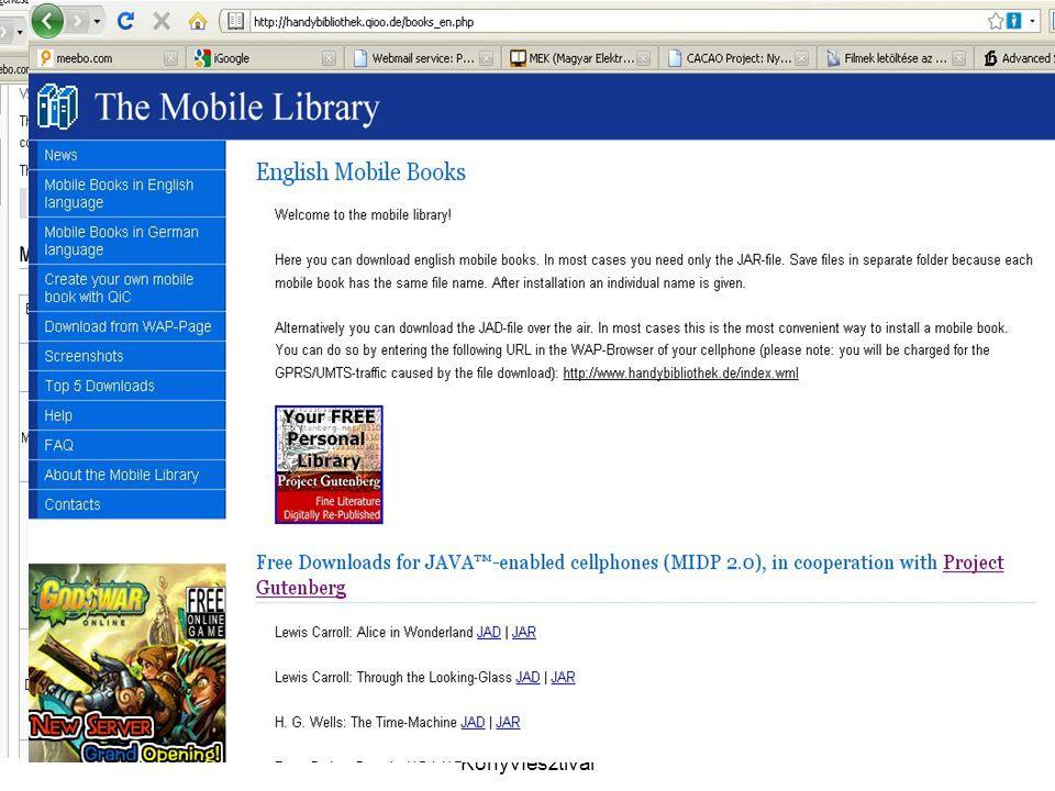 2009. április 24.XVI.Budapesti Nemzetközi Könyvfesztivál E-book olvasók – eszközök.
