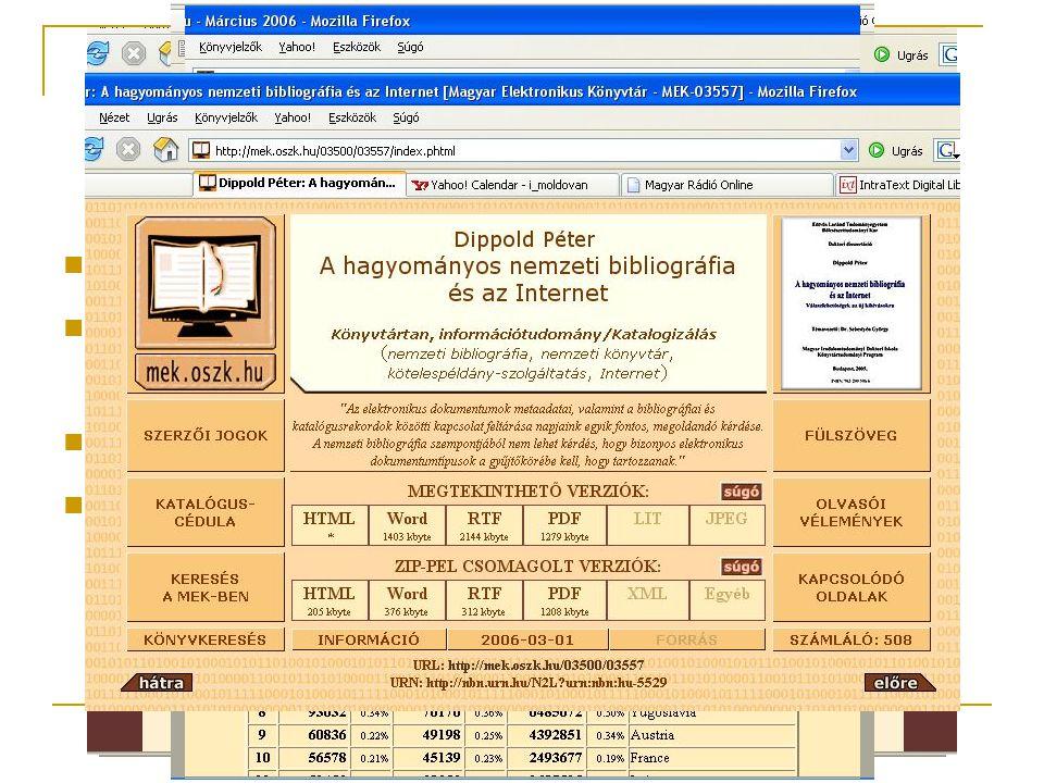 Terjesztés Ritka, unikális könyvekhez való hozzáférés Kis példányszámú, pl. tudományos, oktatási kiadványok Távoli olvasók Csak digitális kiadványok!