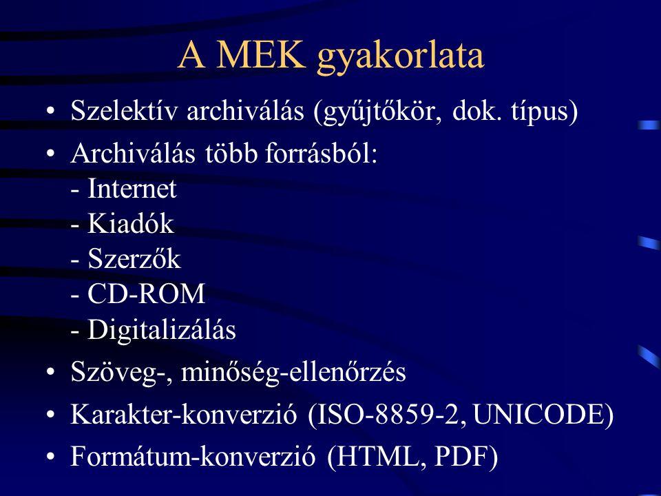 A MEK gyakorlata Szelektív archiválás (gyűjtőkör, dok. típus) Archiválás több forrásból: - Internet - Kiadók - Szerzők - CD-ROM - Digitalizálás Szöveg