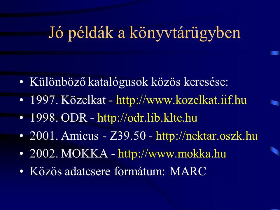 Jó példák a könyvtárügyben Különböző katalógusok közös keresése: 1997. Közelkat - http://www.kozelkat.iif.hu 1998. ODR - http://odr.lib.klte.hu 2001.