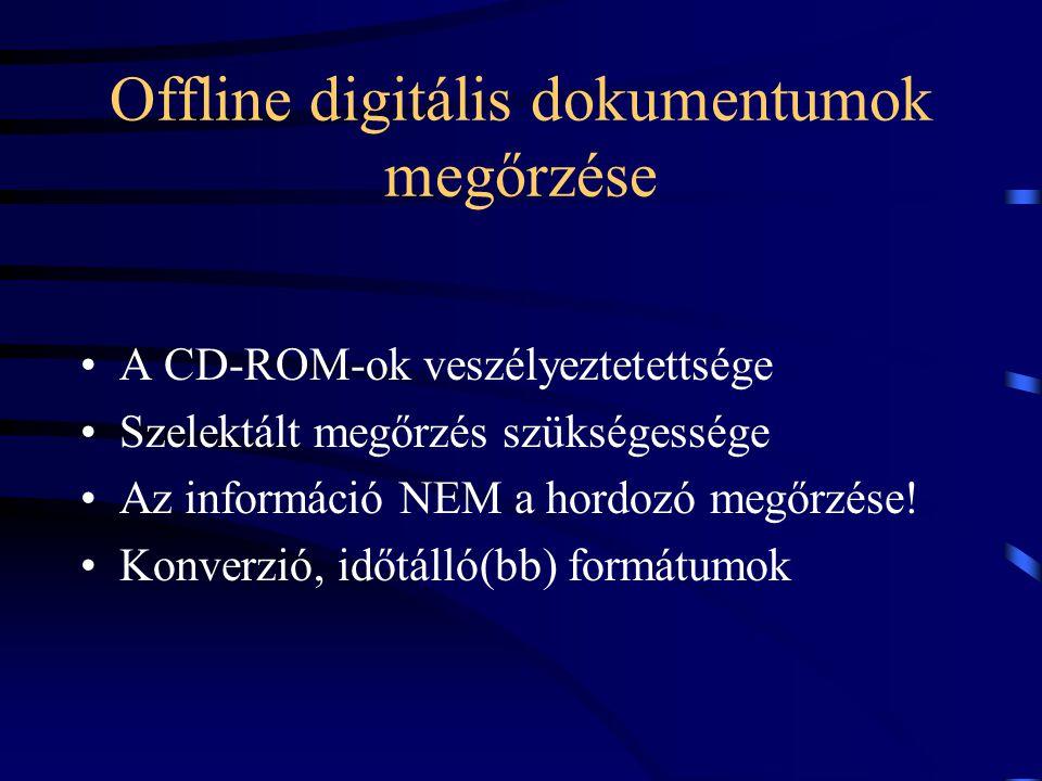 Offline digitális dokumentumok megőrzése A CD-ROM-ok veszélyeztetettsége Szelektált megőrzés szükségessége Az információ NEM a hordozó megőrzése! Konv