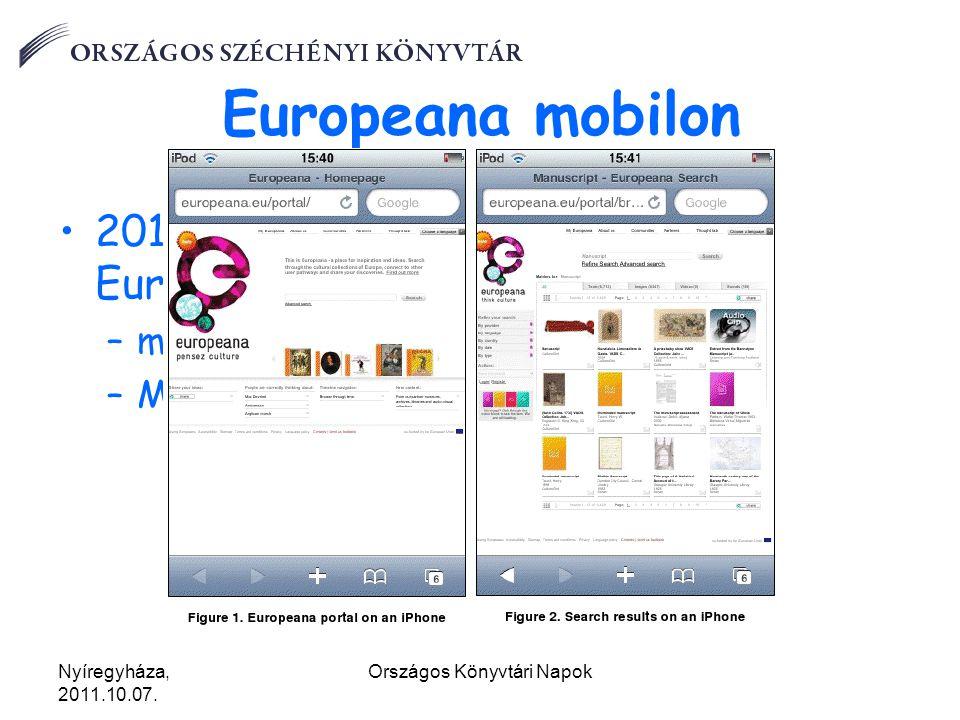 Nyíregyháza, 2011.10.07.Országos Könyvtári Napok Europeana mobilon 2010.