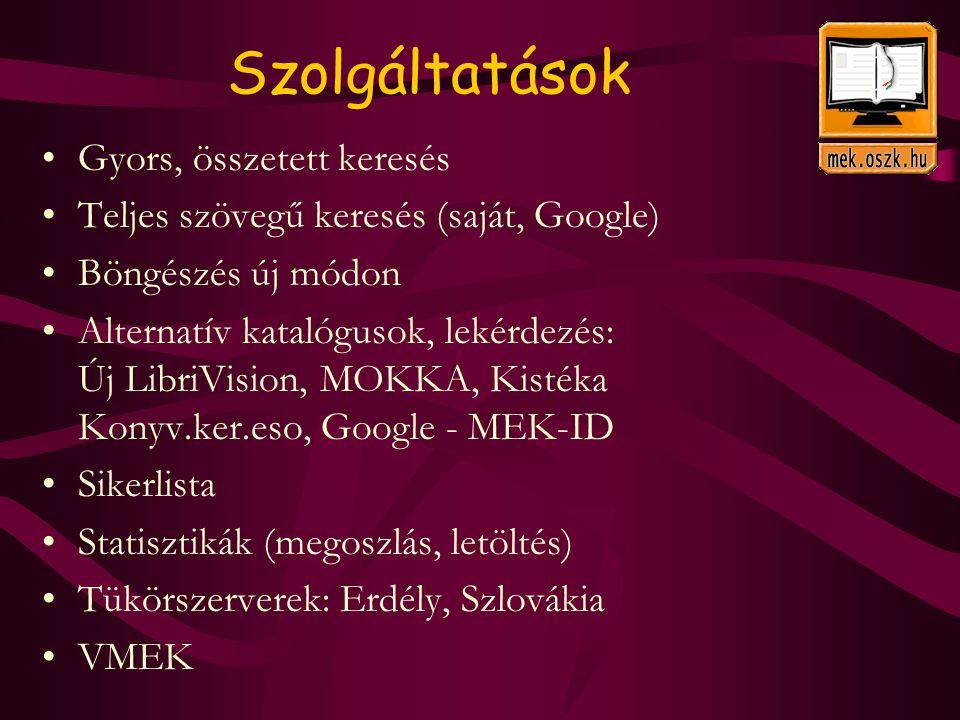 Szolgáltatások Gyors, összetett keresés Teljes szövegű keresés (saját, Google) Böngészés új módon Alternatív katalógusok, lekérdezés: Új LibriVision, MOKKA, Kistéka Konyv.ker.eso, Google - MEK-ID Sikerlista Statisztikák (megoszlás, letöltés) Tükörszerverek: Erdély, Szlovákia VMEK