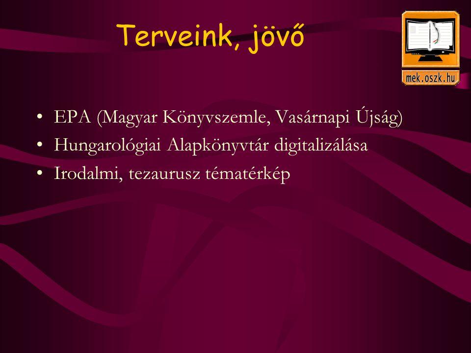Terveink, jövő EPA (Magyar Könyvszemle, Vasárnapi Újság) Hungarológiai Alapkönyvtár digitalizálása Irodalmi, tezaurusz tématérkép