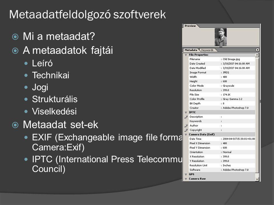 Metaadatfeldolgozó szoftverek  Mi a metaadat?  A metaadatok fajtái Leíró Technikai Jogi Strukturális Viselkedési  Metaadat set-ek EXIF (Exchangeabl
