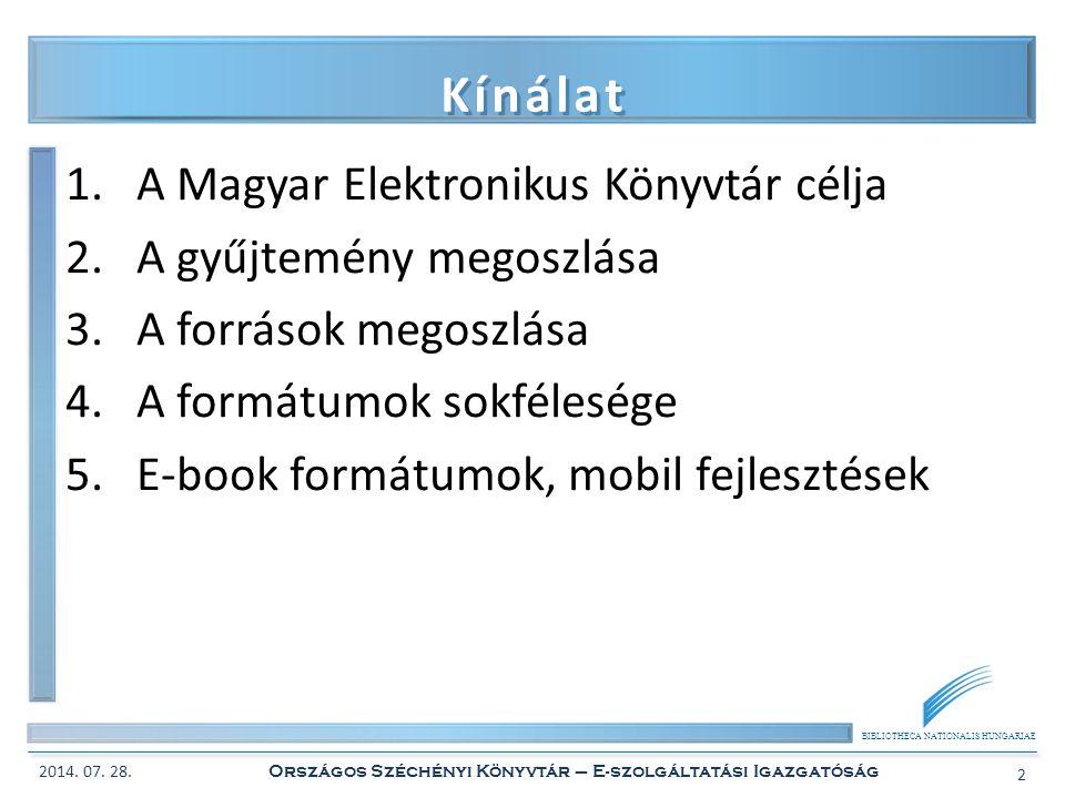 BIBLIOTHECA NATIONALIS HUNGARIAE Kínálat 1.A Magyar Elektronikus Könyvtár célja 2.A gyűjtemény megoszlása 3.A források megoszlása 4.A formátumok sokfé