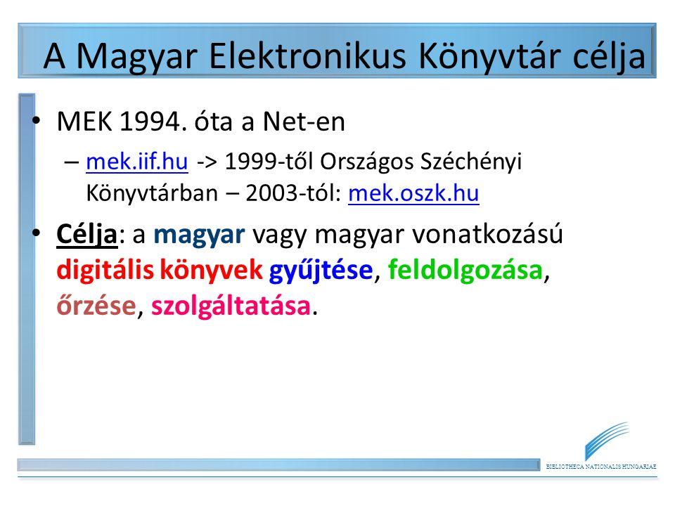 BIBLIOTHECA NATIONALIS HUNGARIAE A Magyar Elektronikus Könyvtár célja MEK 1994. óta a Net-en – mek.iif.hu -> 1999-től Országos Széchényi Könyvtárban –
