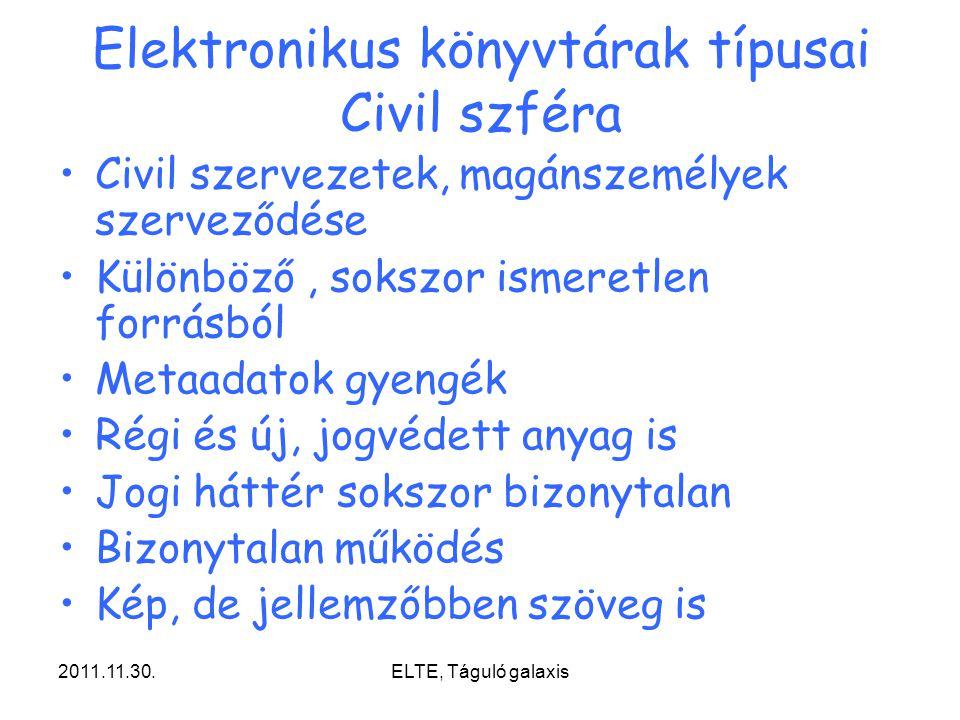 2011.11.30.ELTE, Táguló galaxis Elektronikus könyvtárak típusai Civil szféra Civil szervezetek, magánszemélyek szerveződése Különböző, sokszor ismeret
