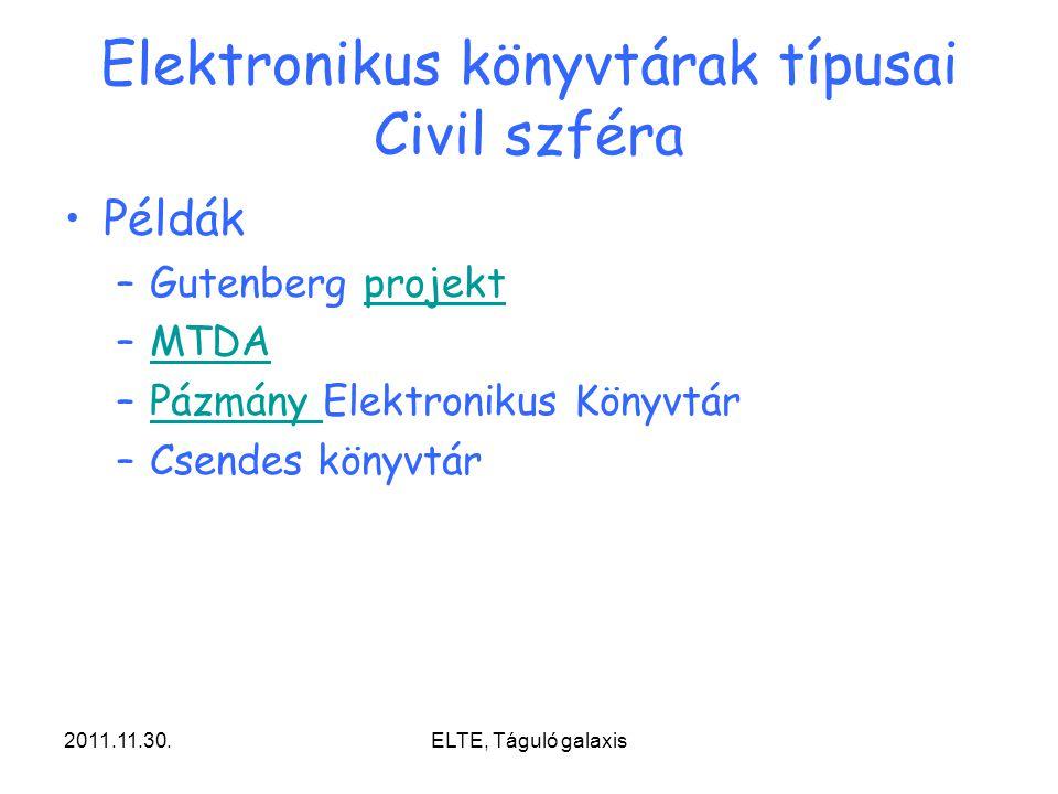 2011.11.30.ELTE, Táguló galaxis Elektronikus könyvtárak típusai Civil szféra Példák –Gutenberg projektprojekt –MTDAMTDA –Pázmány Elektronikus KönyvtárPázmány –Csendes könyvtár